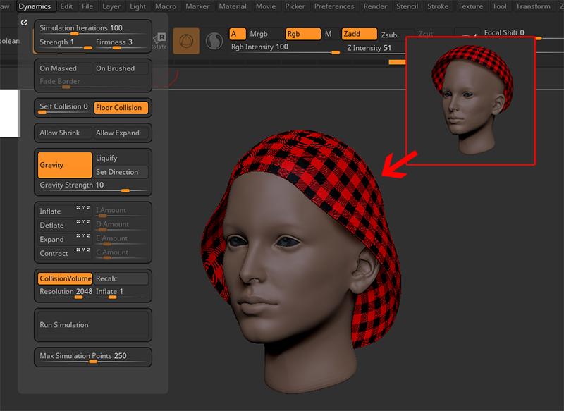 ZBrush-Cloth Simulation(クロスシミュレーション)の基本的な使い方