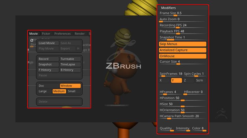 ZBrush-動画を調整したい!Movie(ムービー)とModifiers(モディファイア)の各設定