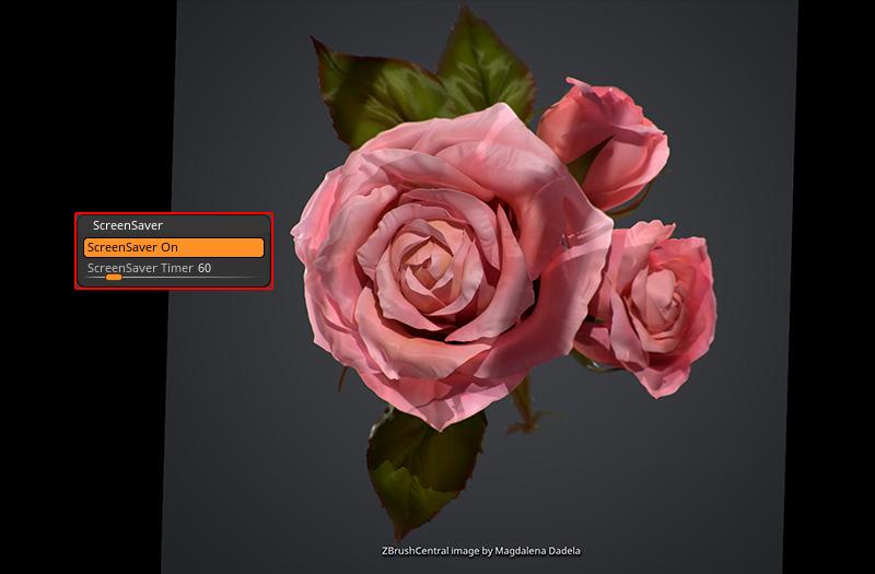 ZBrush-スクリーンセーバー(待機時に出る画面)をOFFにする。実行までの長さを変える