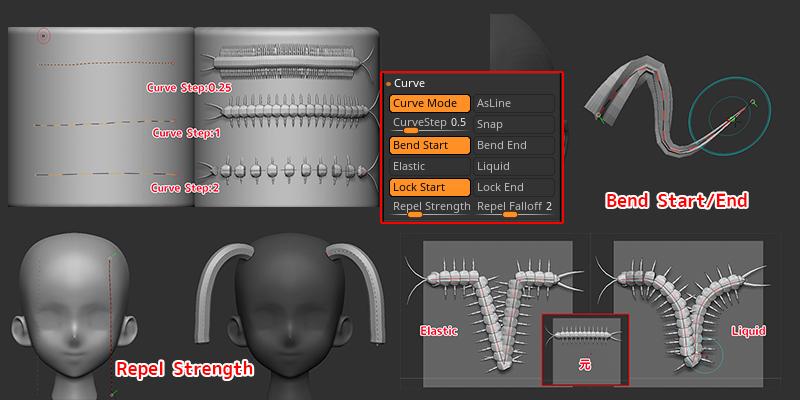 ZBrush【カーブの編集1】伸縮自在!Curve(カーブ)の各設定