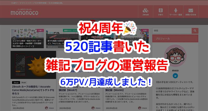 祝4周年!520記事書いた雑記ブログの運営報告。6万PV/月達成しました!