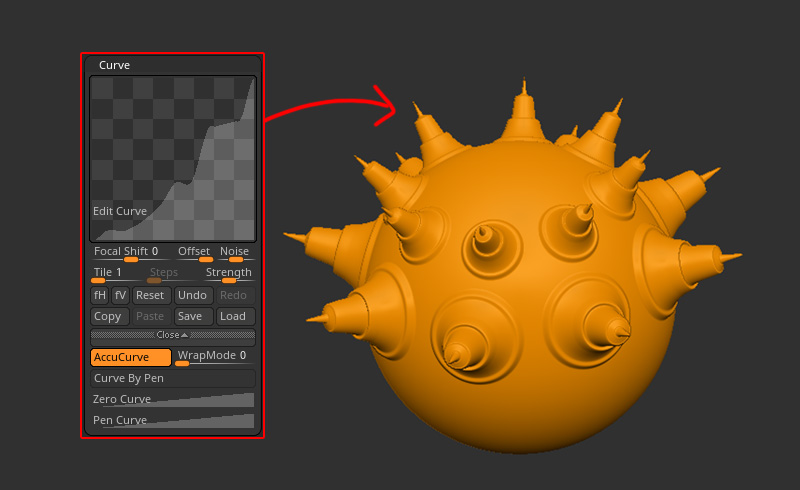 ZBrush-カーブの精密化!Accurate Curve Mode(AccuCurve)でトゲトゲを作ろう