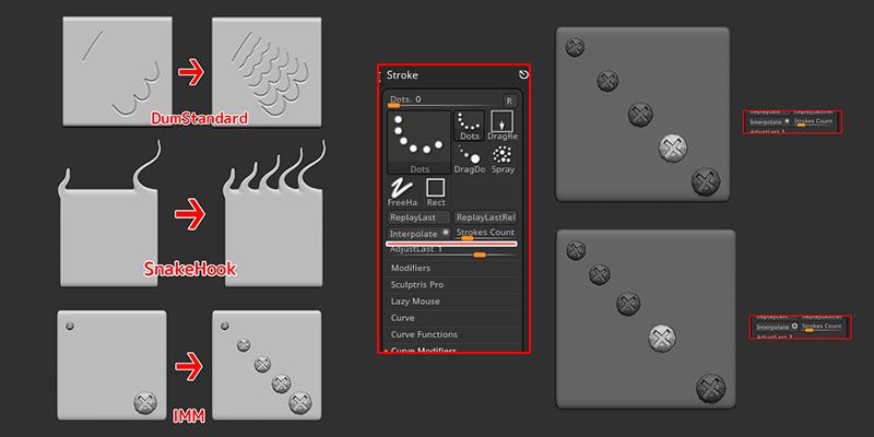 ZBrush-ストロークのモーフィング!Interpolate(補間)の使い方