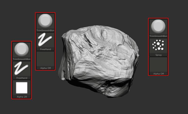 ZBrush-簡単!岩石作りに!TrimSmoothBorderブラシ